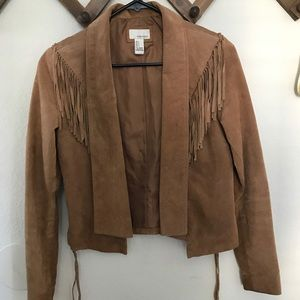 Tan Leather jacket with fringe